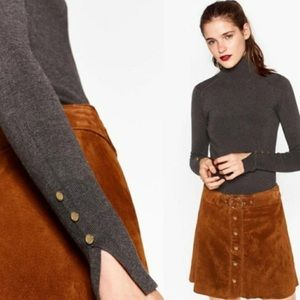 Zara Knit Embellished Long Sleeve Turtle Neck | S